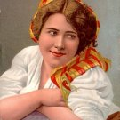 Pretty Ethnic Girl in Scarf, Stengel & Co. Vintage Postcard - 3344
