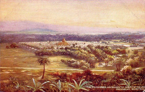 The 450 Pagodas in Mandalay Burma, Raphael Tuck & Sons Vintage Postcard - 3349