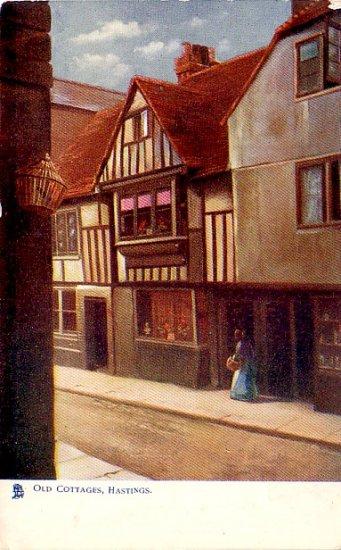 Old Cottages in Hastings England, Raphael Tuck & Sons Vintage Postcard - 3350