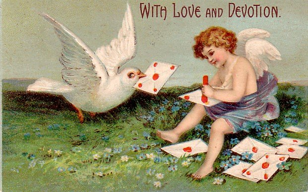 With Love and Devotion, Valentine's Day Vintage Postcard - 3355