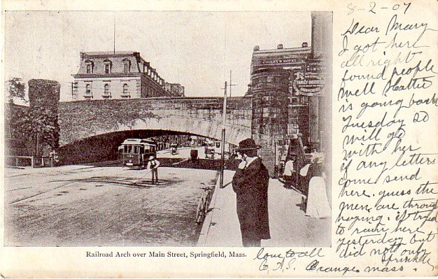 Railroad Arch over Main Street in Springfield Massachusetts MA, 1907 Vintage Postcard - 3371