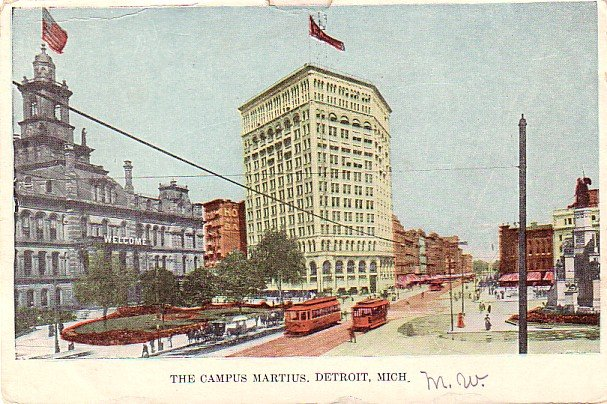 The Campus Martius at Detroit Michigan MI, Vintage Postcard - 3400