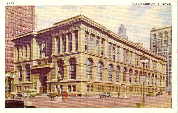 Public Library at Chicago Illinois IL, 1948 Vintage Postcard - 3401