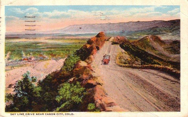 Sky Line Drive near Canon City Colorado CO, 1921 Curt Teich Vintage Postcard - 3409