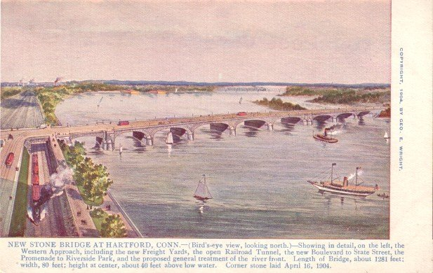 New Stone Bridge at Hartford Connecticut CT, 1904 Vintage Postcard - 3416