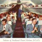 Interior of Northwest Orient Airlines DC - 6 B's 1956 Vintage Postcard - 3453