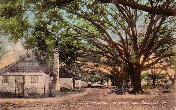 Old Slave Huts at The Hermitage in Savannah Georgia GA Vintage Postcard - 3455