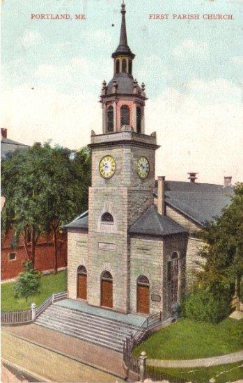 First Parish Church in Portland Maine ME, 1910 Vintage Postcard - 3461