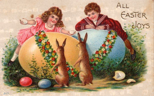 Children Peering Over Eggs at Easter Bunnies Embossed Vintage Postcard - 3470