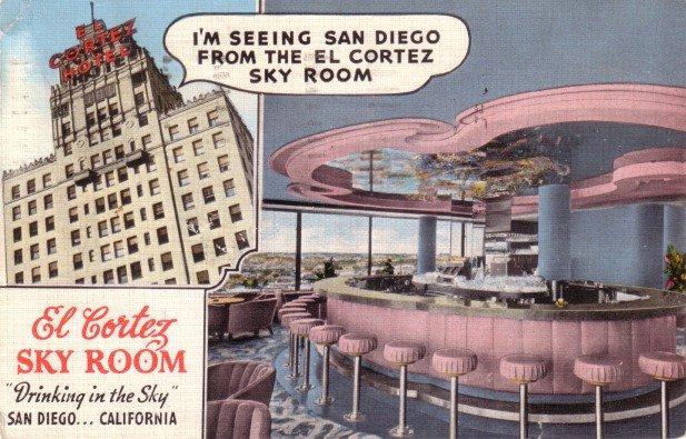 El Cortez Sky Room, Drinking in the Sky in San Diego California CA, 1941 Linen Postcard - 3476