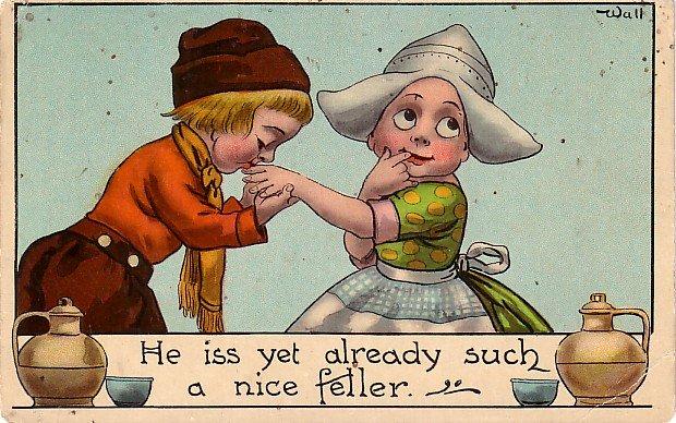 Bernhardt C. Wall Artist Signed Vintage Postcard Featuring Dutch Children - 3492