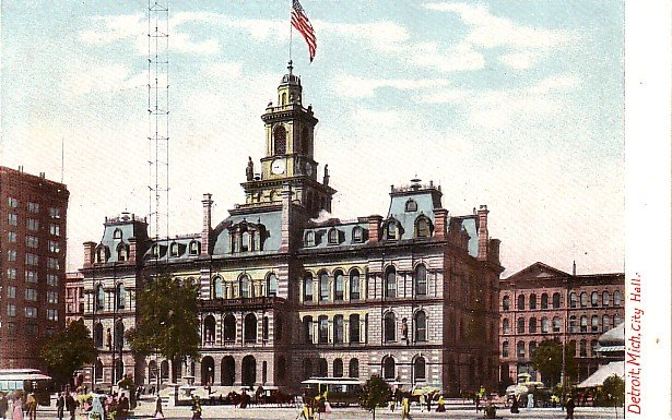 City Hall in Detroit Michigan MI, Vintage Postcard - 3503