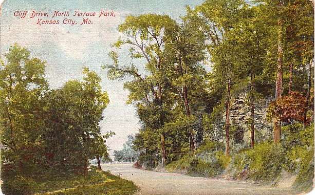 Cliff Drive at North Terrace Park in Kansas City Missouri MO, 1908 Vintage Postcard - 3533