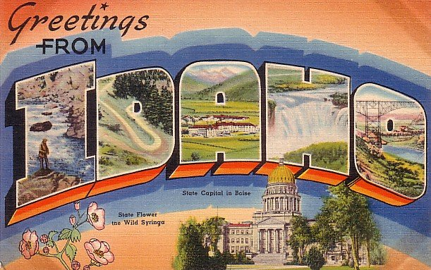 Greetings from Idaho, Mid Century Large Letter Linen Postcard - 3540