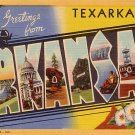 Greetings from Texarkana Arkansas AR, 1939 Curt Teich Large Letter Linen Postcard - 3541