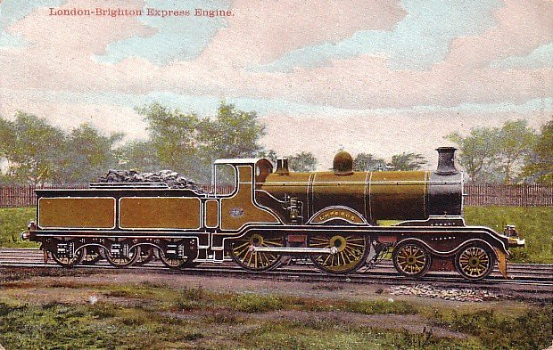 London-Brighton Express Engine, Vintage Postcard - 3544