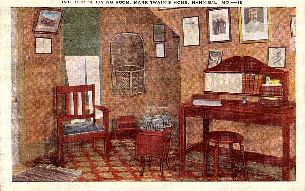 Living Room of Mark Twain's Home in Hannibal Missouri MO, Mid Century Linen Postcard - 3547