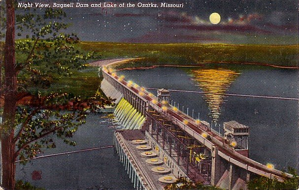 Night View of the Bagnell Dam and the Lake of the Ozarks in Missouri MO Linen Postcard - 3548