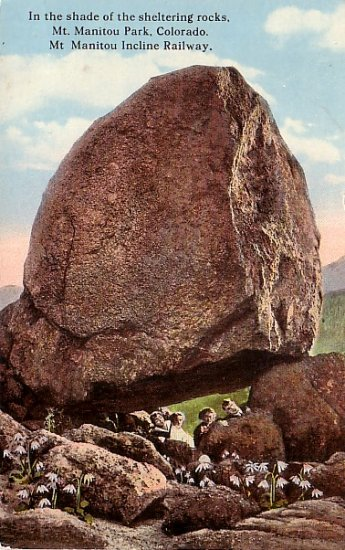 Tourists Under a Large Rock in Mt. Manitou Park Colorado CO, Curt Teich Vintage Postcard - 3551