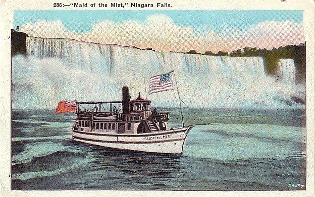 Mid of the Mist, Steamer Excursion Boat at Niagara Falls New York NY, Vintage Postcard - 3552