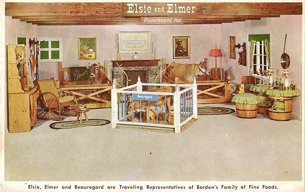Advertising Postcard of Elsie, Elmer and Beauregard, Borden Company Representatives - 3558
