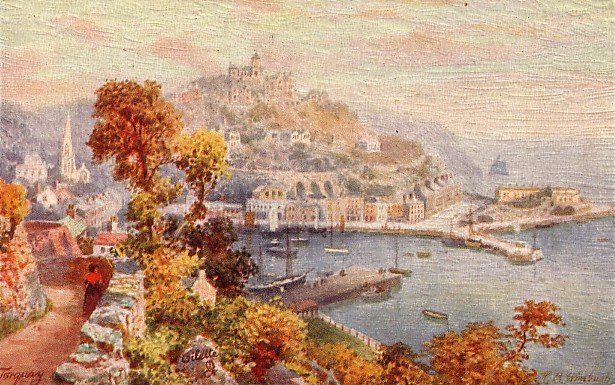 Artist Signed by H.B. Wimbush, The Terrace Walk in Torquay UK, Tuck Vintage Postcard - 3576