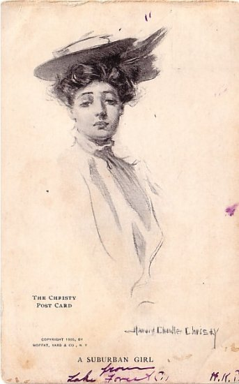 A Suburban Girl, Howard Chandler Christy 1905 Vintage Postcard - 3588
