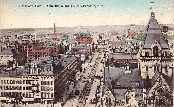 Bird's Eye View of Syracuse Looking North in New York NY, Vintage Postcard - 3604