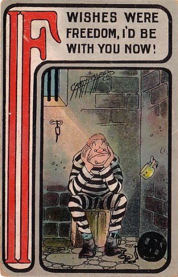 Artist Signed by Carmichael, IF Series Vintage Postcard with Prisoner - 3640