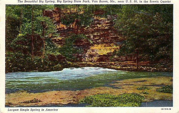 Big Spring State Park at Van Buren Missouri MO, 1931 Curt Teich Linen Postcard - 3644