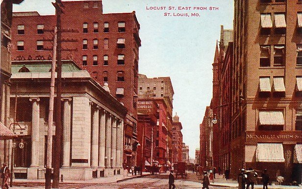 View of Locust Street in St. Louis Missouri MO, Vintage Postcard - 3653