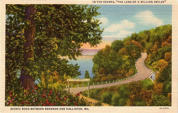 Road Between Branson and Hollister Missouri MO, 1934 Curt Teich Linen Postcard - 3666