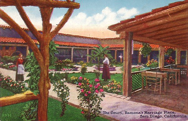 The Courtyard at Ramona's Marriage Place in San Diego California CA, Vintage Postcard - 3730