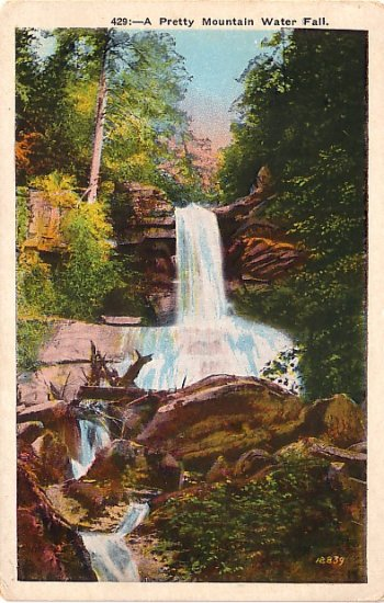 A Pretty Mountain Water Fall Landscape, Vintage Postcard - 3734