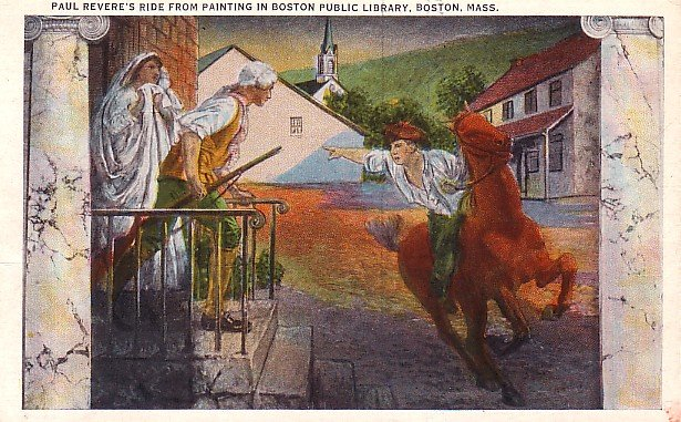 Paul Revere's Ride Through Concord  Massachusetts MA Vintage Postcard - 3739