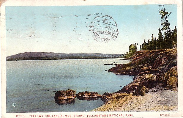 Yellowstone Lake at West Thumb in Wyoming WY, 1933 National Park Postcard - 3756