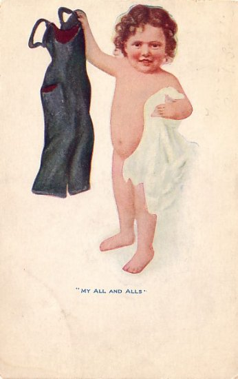 "Naked Little Girl in her ""All and Alls"", Vintage Postcard - 3764"