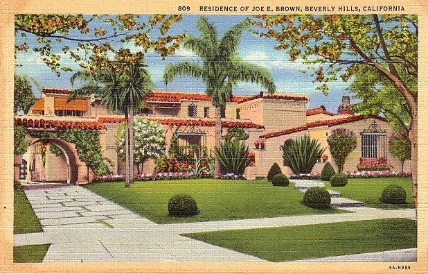 Residence of Joe E. Brown in Beverly Hills California CA 1936 Curt Teich Linen Postcard - 3795