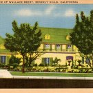 Residence of Wallace Beery in Beverly Hills, California CA Linen Postcard - 3796