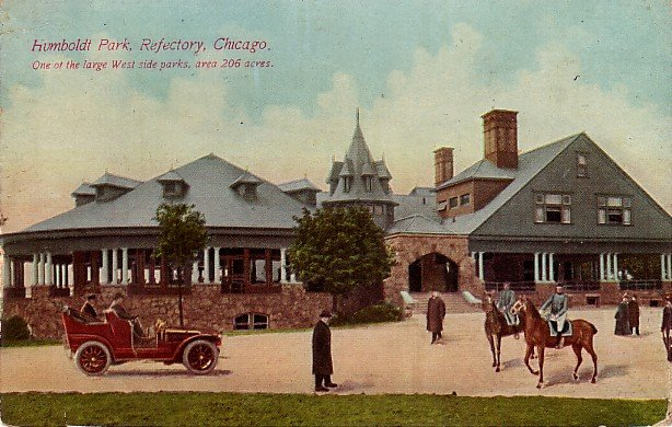 Humboldt Park Refectory in Chicago Illinois IL, 1912 Vintage Postcard - 3806