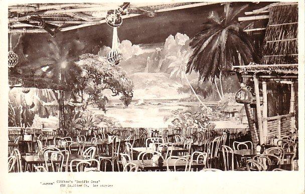 Lagoon Room at Clifton's Pacific Seas Restaurant in Los Angeles California CA, RPPC - 3834