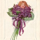 Baby's Head in Nosegay of Violets Birthday Greetings Vintage Postcard - 3842