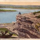 Lovers Leap and Mississippi River at Hannibal Missouri MO, Curt Teich Vintage Postcard - 3846