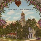 St. Edwards Church in Palm Beach Florida FL, 1940 Curt Teich Linen Postcard - 3847