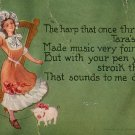Irish Lass with Harp by Fred L. Cavally Jr., 1911 Vintage Postcard - 3863