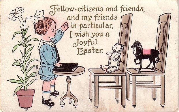 Little Preacher Giving Sermon to Toys Vintage Easter Postcard - 3865