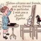 Little Preacher Giving Sermon to Toys Vintage Easter Postcard - 3865