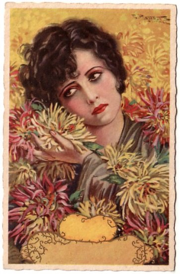 Sad Lady with Yellow Chrysanthemums Vintage Postcard - 3885