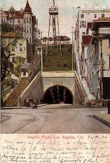 Angel's Flight Incline Railway at Los Angeles California CA, 1906 Vintage Postcard - 3891