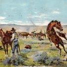 Saddling Up by Gollings, Cowboy and Western 1911 Vintage Postcard - 3895